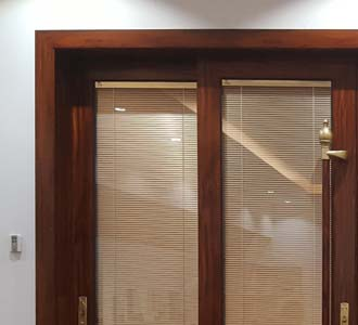 double glass door with electric blinds