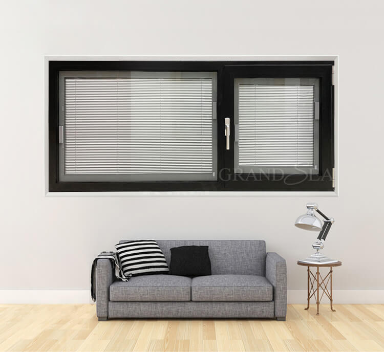 aluminum tilt turn window with magnetic blinds