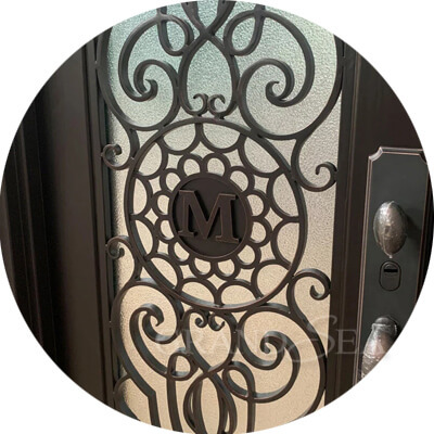 wrought iron double front doors