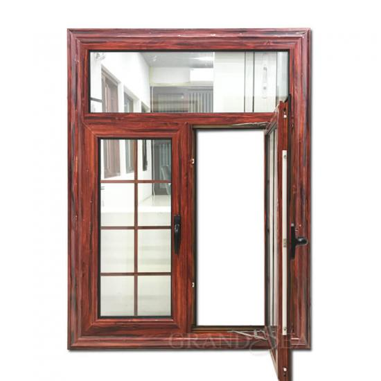 Wooden color aluminium casement window