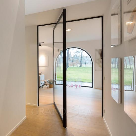 internal glass pivot doors